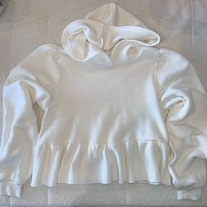 UO White Cropped Hoodie